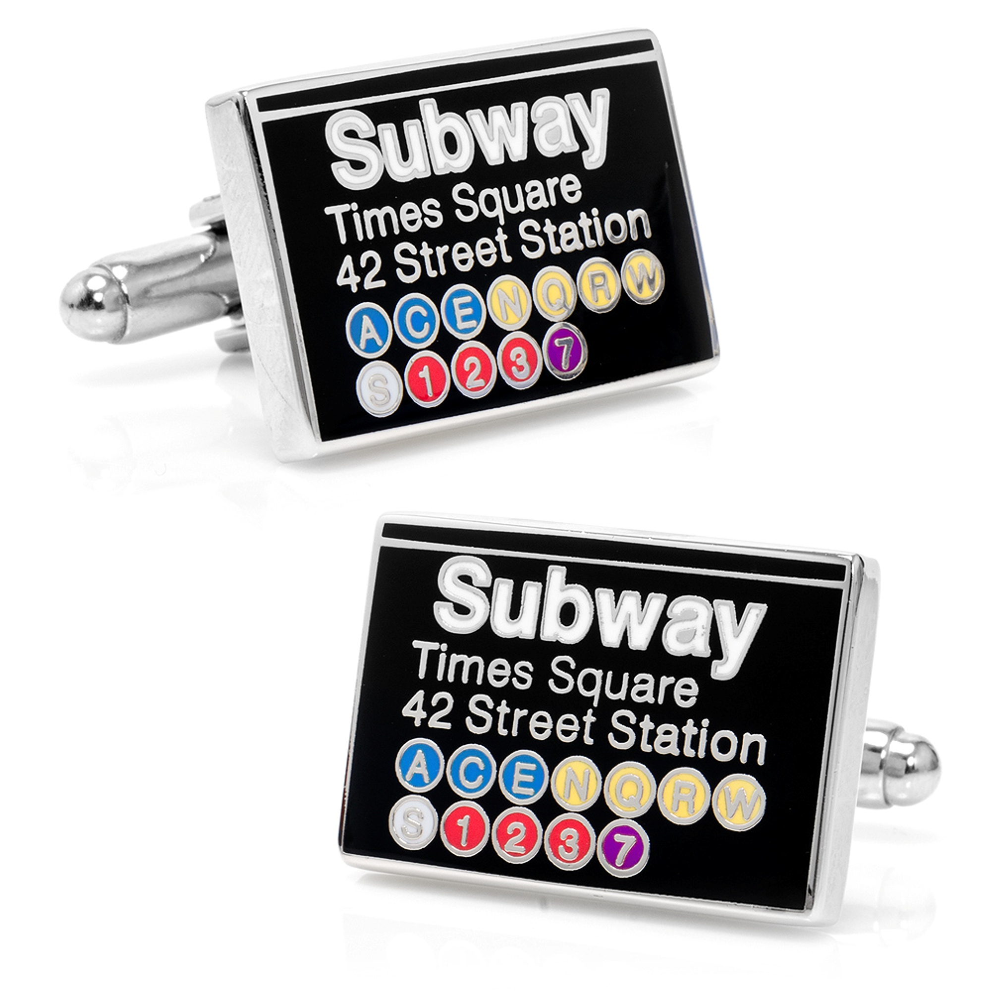 Mens Plated Time Square Subway Sign Cufflinks CC-STS-SL NEW