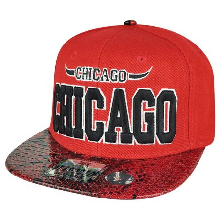 Windy City Chicago State Red Snake Skin Flat Bill Snapback Hat Cap Chi Town