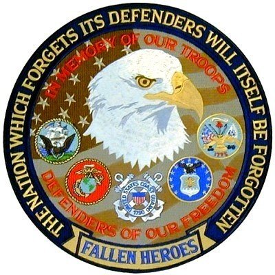 Military Vet Patch (BACK PATCH FALLEN HEROES DEFENDERS FREEDOM Military Vet )