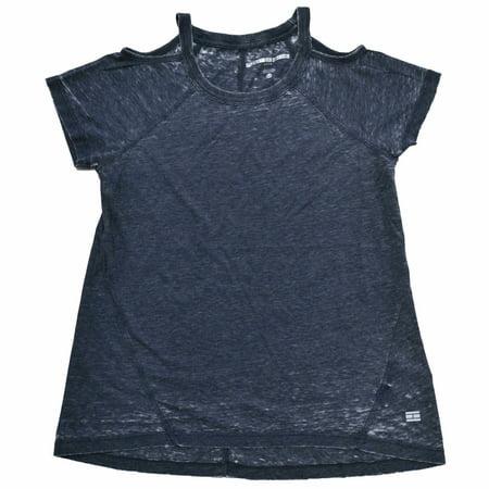 Tommy Hilfiger Womens Cold Shoulder T-Shirt (L, Navy)