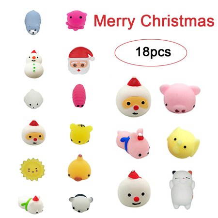 18PC Christmas Toys Mini Cute 2019 HOTSALES Squeeze Funny Toy Soft Stress Relief Toy DIY Decor ()