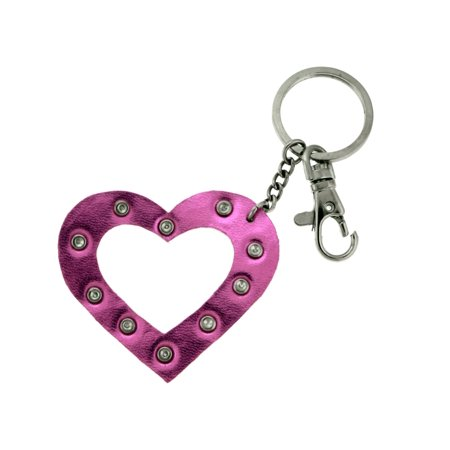 Rhinestone Accented Metallic Pink Colored Heart Keychain With Trigger Snap KEKC4374 ()