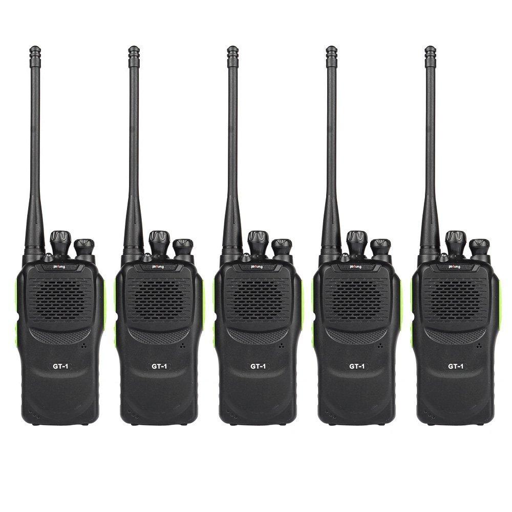 Baofeng Pofung GT-1 UHF 400-470MHz FM Two-way Ham Radio(Yellow), 16 Channels, 1500mAh Battery, 5 Pack