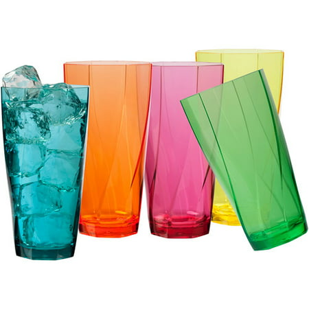 Creativeware Creative Bath Twist 24-Ounce Assorted Plastic Tumblers, Set of 10 Cups ()