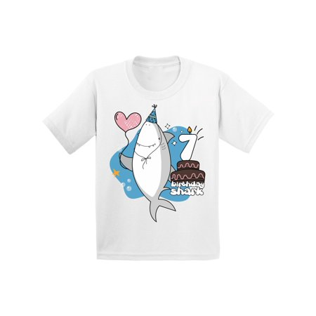 Awkward Styles B Day Gifts for Seven Year Old Seventh B Day T-Shirt for Kids Seventh Birthday Party I am 7 T-shirt Shark Shirts for Boys Shark Lovers Gifts Shark Themed Party Shark T Shirts for Girls ()