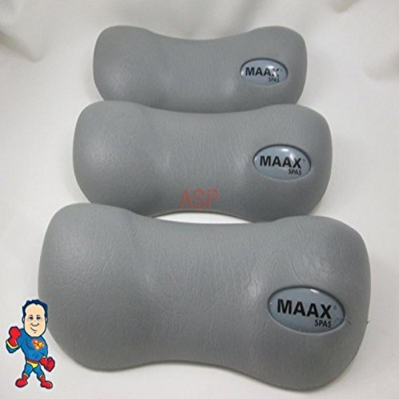 Set of (3) Maax Spa Hot Tub Neck Pillow Gray Head Rest Co...