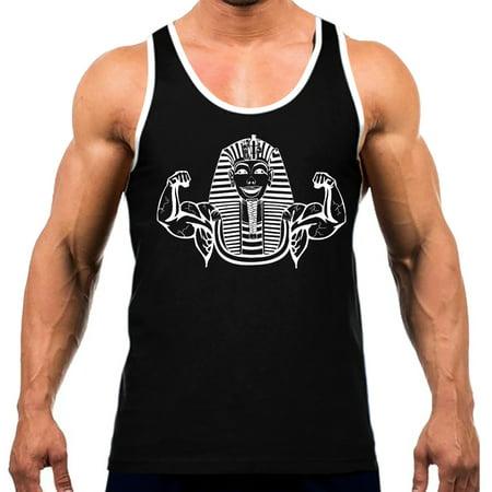 Men's Buff Pharaoh Muscle Flexing Tee White Trim Black Tank Top Medium Black