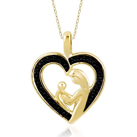 JewelersClub Black Diamond Accent Gold over Silver Mother and Child Heart Pendant