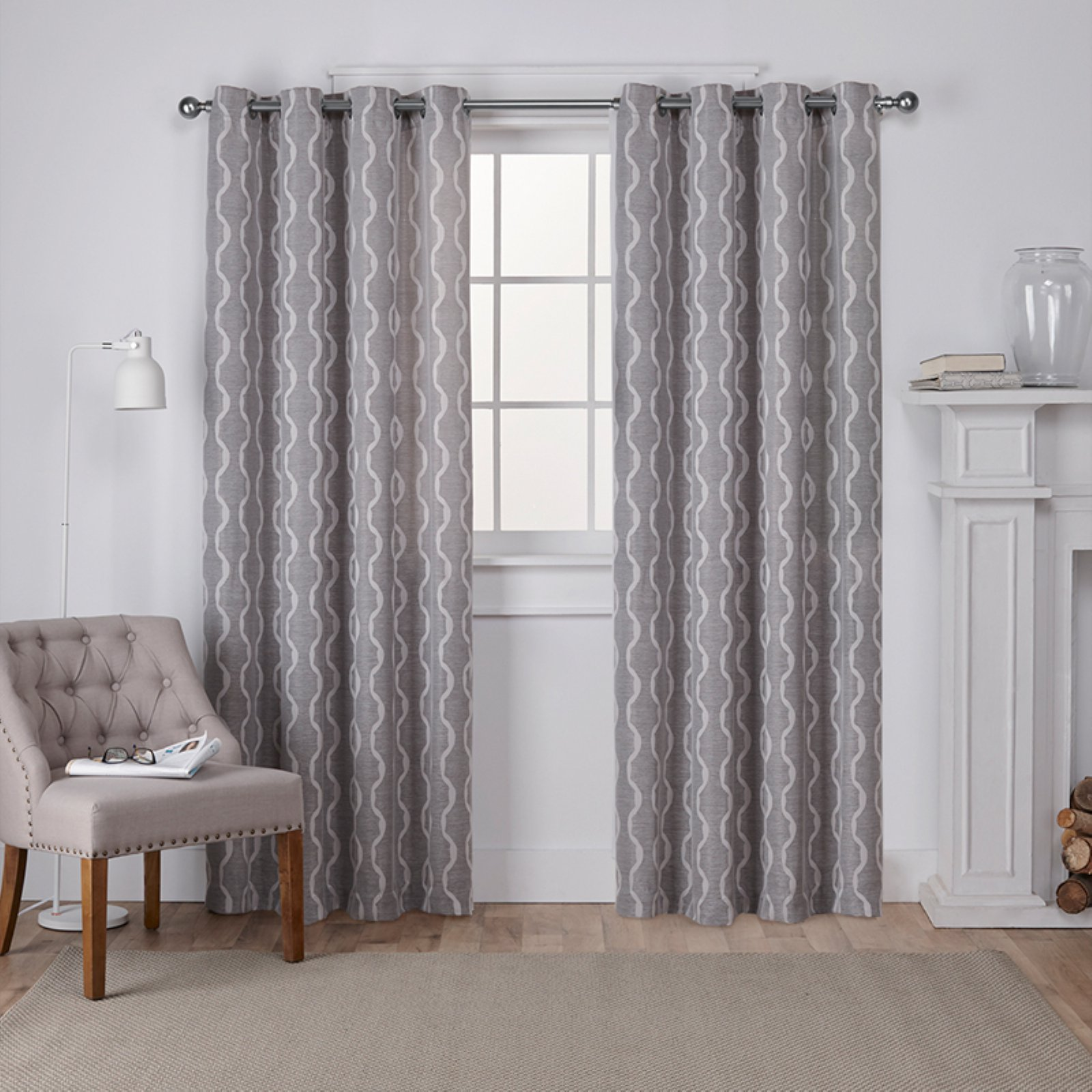 Exclusive Home Baroque Textured Linen Look Jacquard Window Curtain Panel Pair with Grommet Top