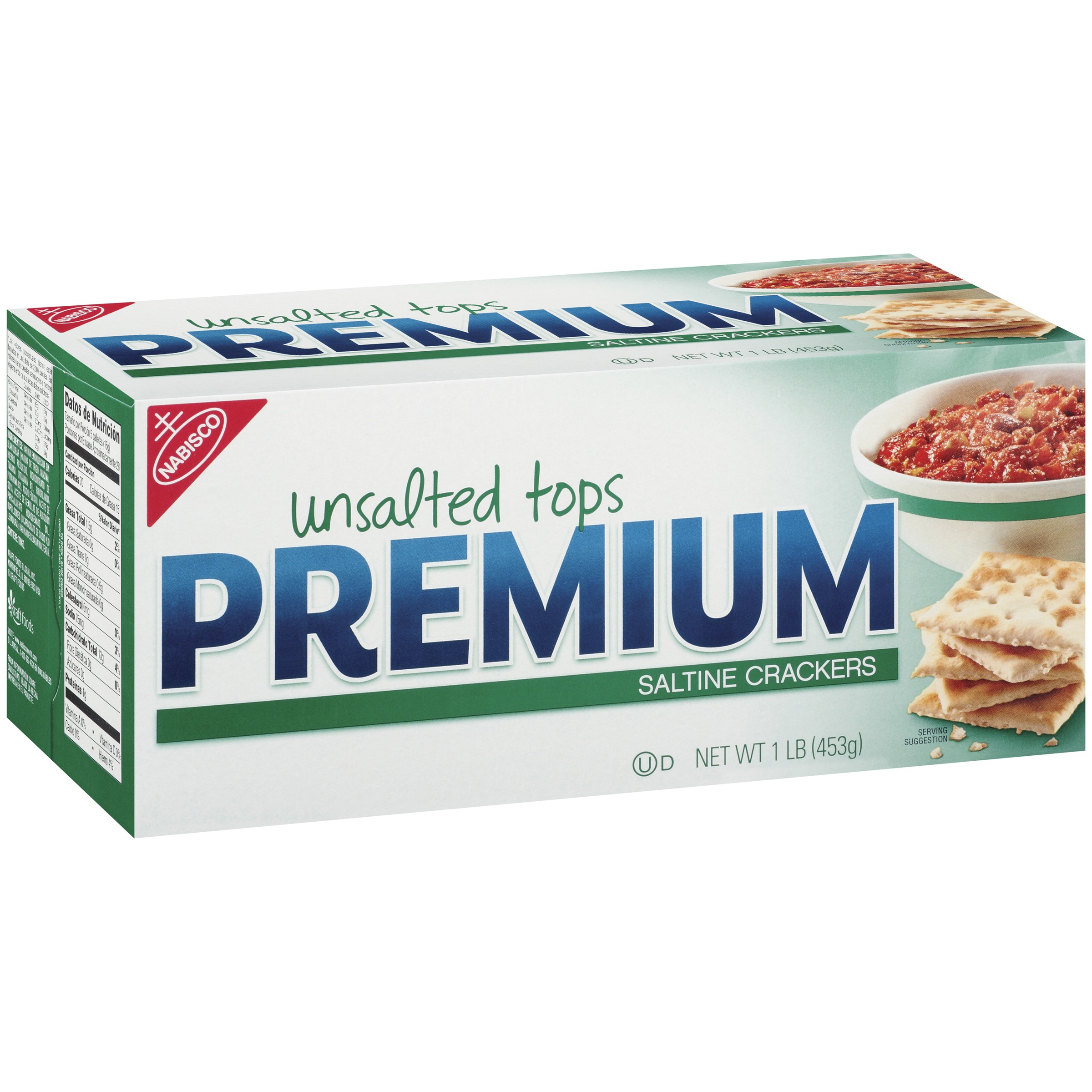 Premium Saltine Crackers Unsalted Tops, 1.0 LB