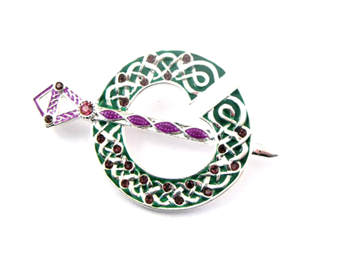 Tara Brooch Silver Plate Enamel & Purple Gems from Ireland by Amethyst Dublin