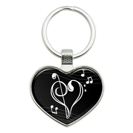 Treble Bass Clef Heart Music Black Heart Love Metal Keychain Key Chain Ring - Music Keychain