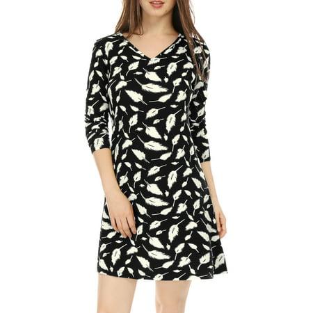 Unique Bargains Women Dress V Neck Feather Print  - Unique Dress Websites
