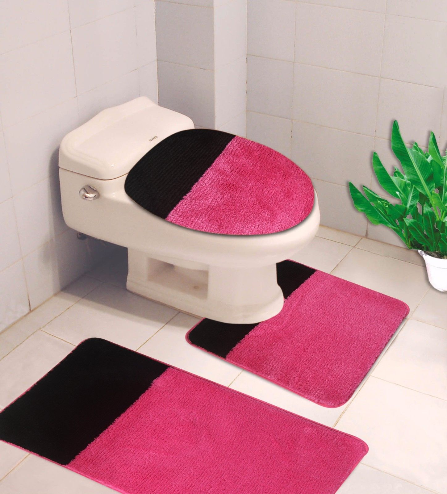 """3-PC (#7) 2 Tone Hot Pink/Black HIGH QUALITY Jacquard Bathroom Bath Rug Set Washable Anti Slip Rug 18""""x28"""", Contour Mat 18""""x18"""" and Toilet Seat Lid Cover 18""""x19"""" with Non-Skid Rubber Back"""