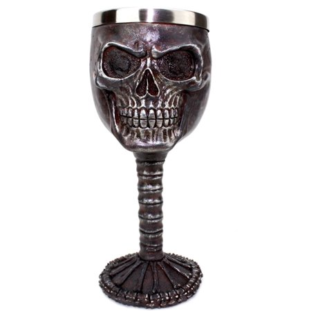 Halloween Plastic Wine Goblets (Smiling Juju Gothic Skull Wine Goblet ~ Tribal Skeleton Design Wine Cup Creepy Skeleton Head Goblet For Halloween)