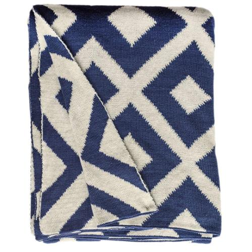 Fab Habitat Handmade Marina Knit Indigo Blue and White Cotton Throw (India)