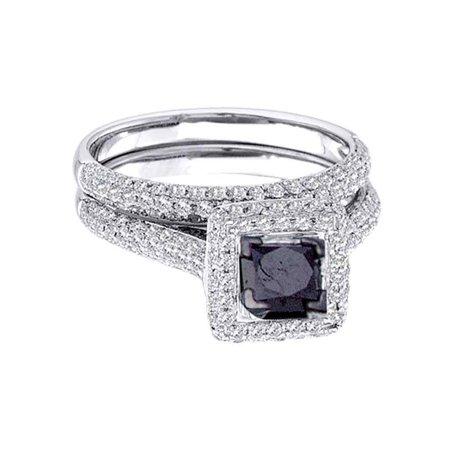 14k Princess Solitaire Diamond Band (Size 7 - 14k White Gold Black Princess Cut Diamond Solitaire Pave Wedding Band Bridal Ring Set 1-1/4 Cttw Size)
