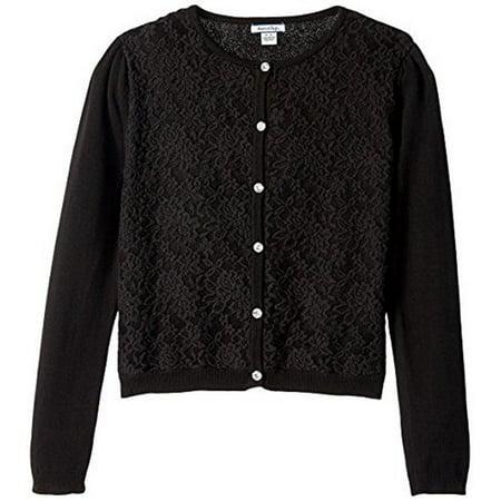 Hartstrings Girls' Black Lace Overlay Cardigan Sweater (6X ...