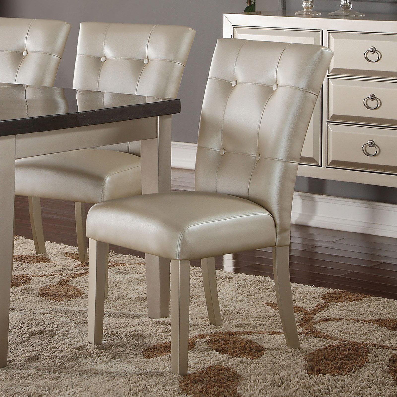 ACME Voeville II Side Chair, Platinum PU & Platinum (Set of 2)