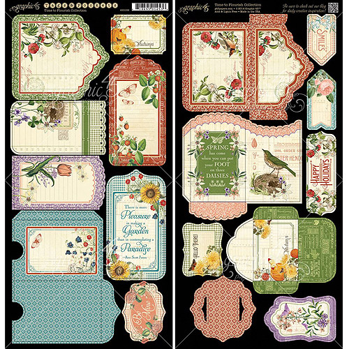 "Time To Flourish Cardstock Die-Cuts 6""X12"" Sheets 2/Pkg-Tags & Pockets"