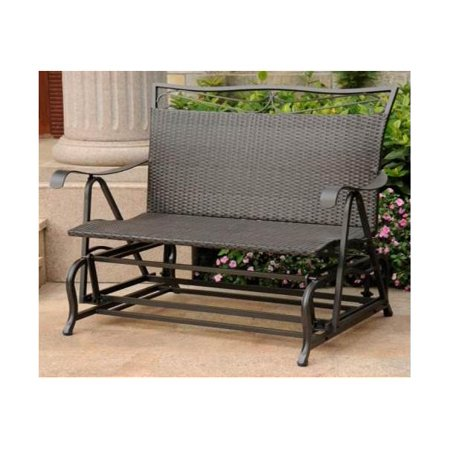 Wicker Resin/Steel Single Hanging Patio Chair Swing (Black Antique) ()