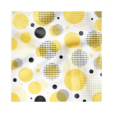 Yellow Polka Dot Napkins (Yellow Polka Dot Napkins Set of 4, Pattern of Stripes Circular Shapes and Mini Spots, Silky Satin Fabric for Brunch Dinner Buffet Party, by)