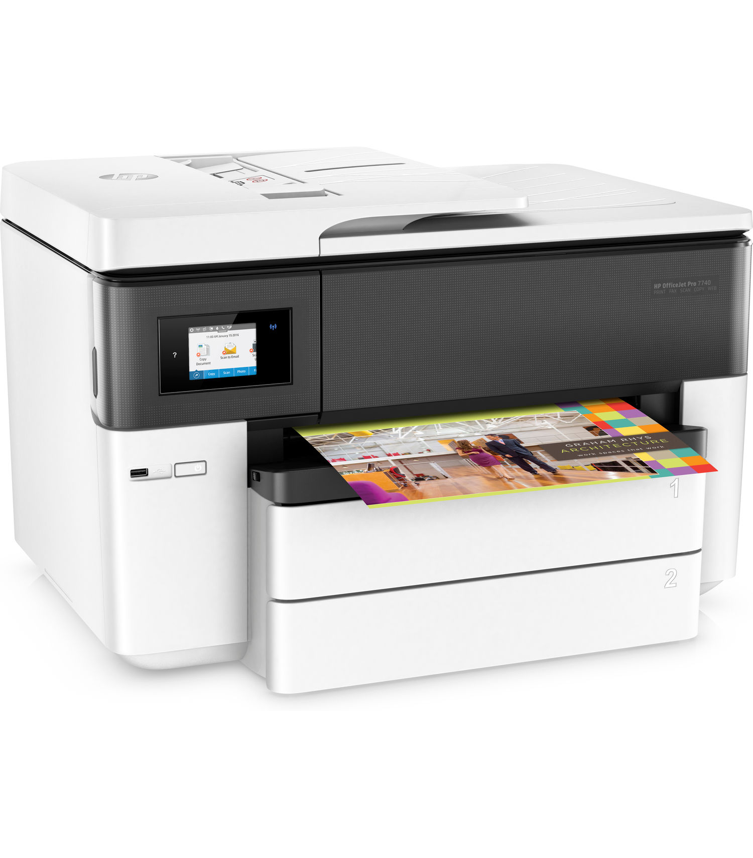 HP OfficeJet Pro 7740 Wide Format All-in-One Printer with Mobile Printing, in White (Certified Refurbished) by HP