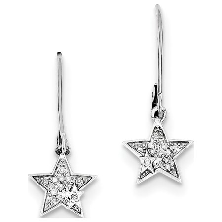 925 rhodi? argent sterling Diamond Star Leverback (10x23mm) Boucles d'oreilles - image 2 de 2