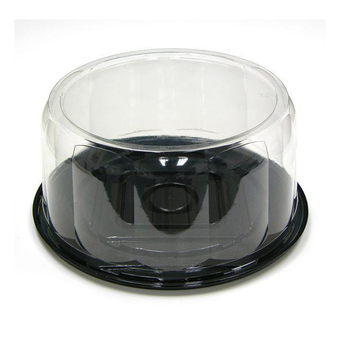 "Pactiv Rose Pattern Cake Container & Lid Combo, 13"" Diameter x 5.75"" Height, Black Base/Clear Lid 