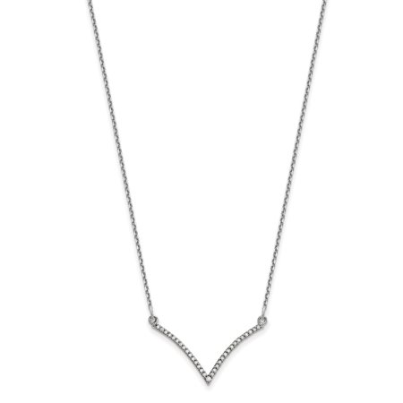 14K White Gold Dainty Designs Diamond V Necklace