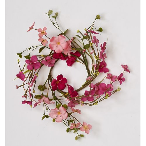 Ophelia & Co. Pink Flower with Leaf 12'' Wreath (Set of 2)