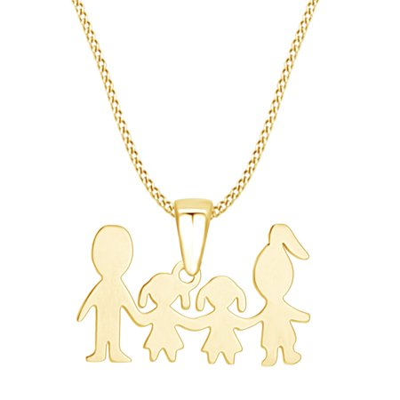 Mother's Day Jewelry Gifts Mom and Dad Love Two Daughter Pendant Necklace In 14k Yellow Gold Over Sterling