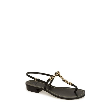Tory Burch Tory Burch Gemini Link T Strap Leather Sandals Shoes