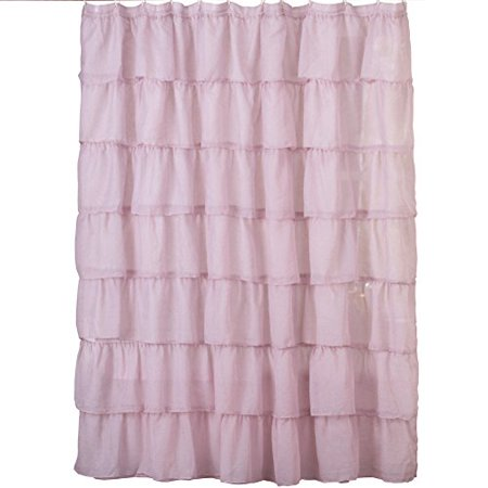 Collections Etc Ruffled Sheer Bathroom Shower Curtain