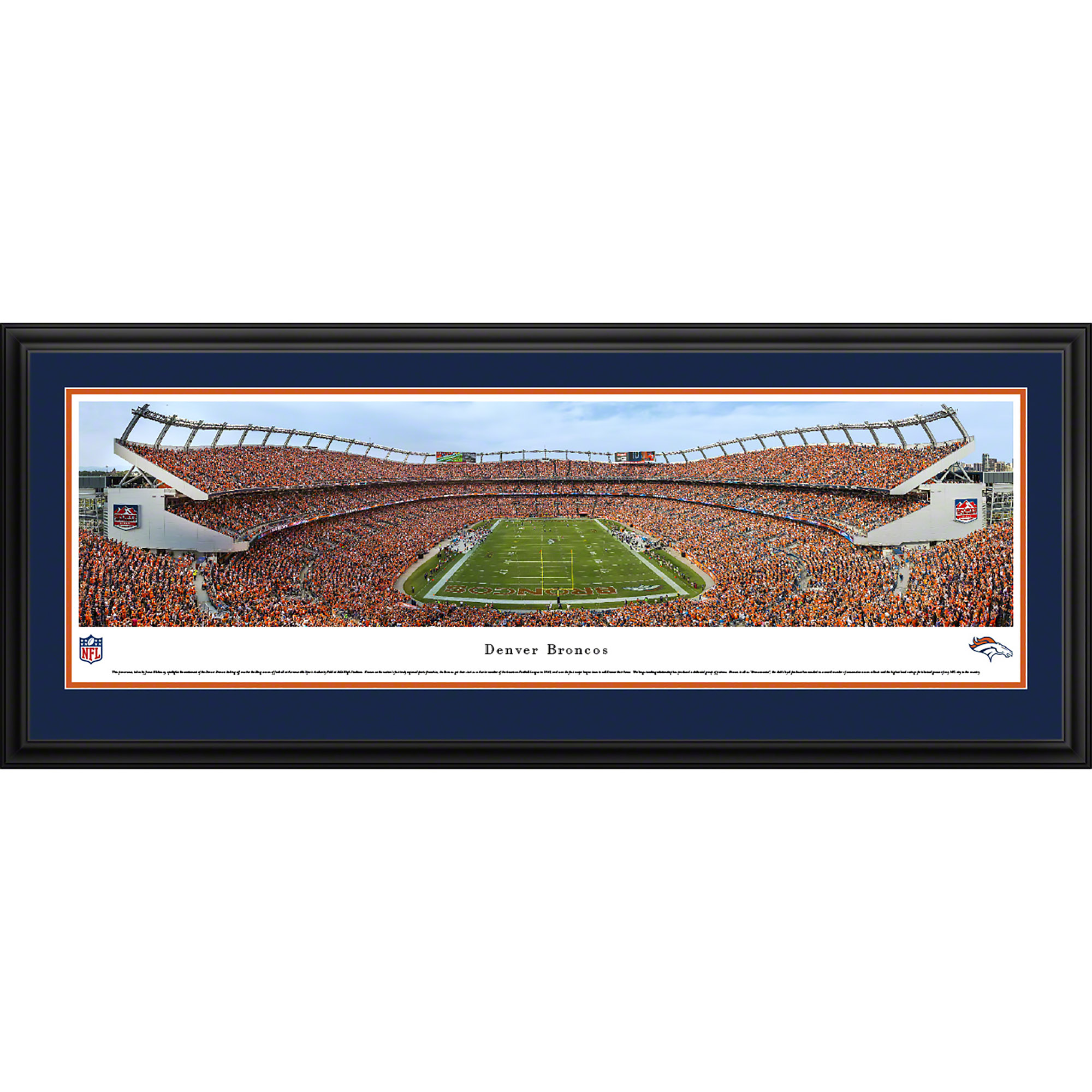 Denver Broncos - End Zone During A Night Game - Blakeway Panoramas NFL Print with Deluxe Frame and Double Mat