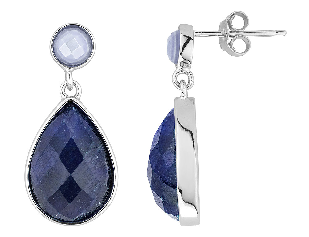 Raw Sapphire Teardrop with Blue Chalcedony Earrings 15.0 Carats (ctw) in Sterling Silver by Gem And Harmony