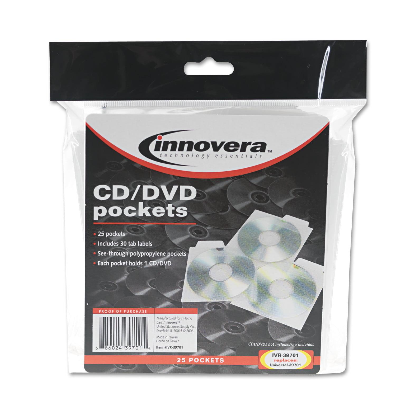 Innovera CD/DVD Pockets, 25/Pack