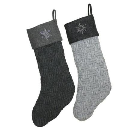 19 light gray knit sweater christmas stocking with rhinestone snowflake - Sweater Christmas Stockings