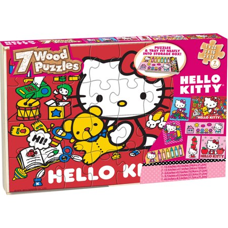 Hello Kitty 7 Wood Jigsaw Puzzles In Wood Storage Box
