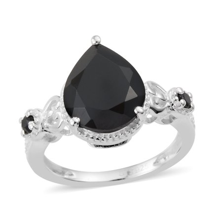 925 Sterling Silver Pear Black Spinel Statement Ring for Women Cttw 3.3 Jewelry (Pear Peridot Ring)