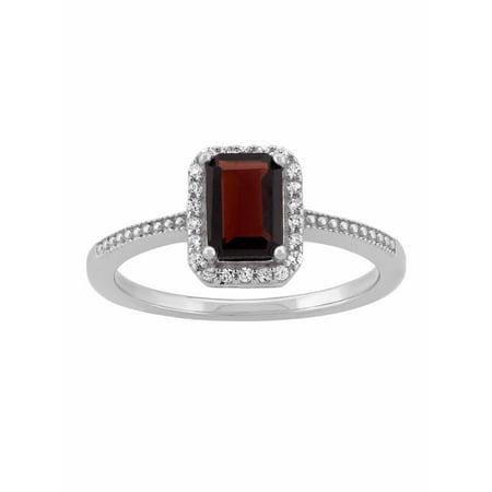 Garnet and CZ Sterling Silver Emerald-Cut Halo Ring Color Change Garnet Ring