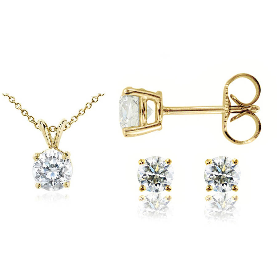 Chetan Collection 0.33 Carat T.W. Diamond 10kt Yellow Gold Round-Shape Pendant and Earring Set