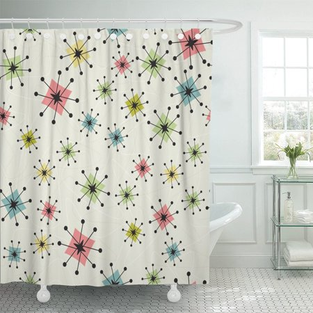 PKNMT Vintage Atomic Stars Retro Pattern on of Boomerangs are Shower Curtain 60x72 inches
