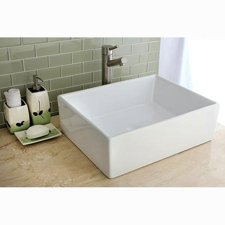 Kingston Brass Elements Ceramic Rectangular Vessel Bathroom Sink