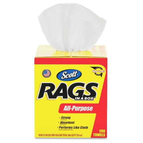 Scott Rags In A Box, 200 Towels - Towel - 200 / Box - 200 / Carton - White (75260ct)