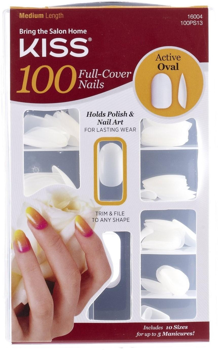 KISS Full Cover Nails Kit, Medium, Active Oval - Walmart.com