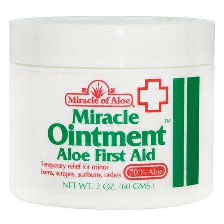 Miracle Aloe Hand Cream (Miracle Ointment Aloe First Aid Cream 2 ounce jar with 70% UltraAloe)