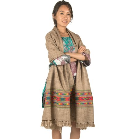 6efcdef1dc628 Tribe Azure - Wool Shawl Embroidery Large Winter Women Pashmina Scarf Stole Blanket  Wrap Woven Prayer Oversized Cream Biege - Walmart.com