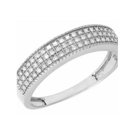 10K White Gold 3 Row Real Diamond Band Ring .40ct 5MM 3 Row Diamond Ring