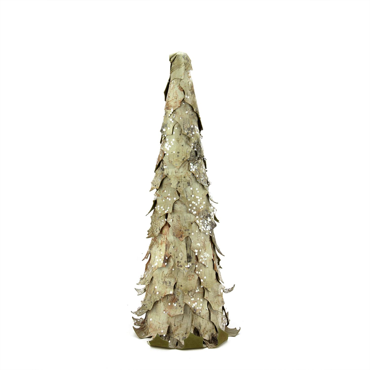 "Image of 17.5"" Country Cabin Sequined and Glittered Birch Leaf Christmas Cone Tree Decoration"